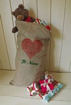 Personalized Romantic Large Father Christmas Xmas Santa Sack / Stocking Bag Jute Hessian